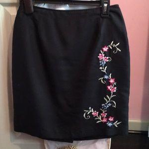 Pencil silk skirt